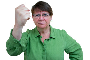 Photo of Anne-Marie Eklund Löwinder, DNSSEC pioneer, when she's angry