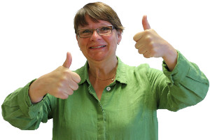 Photo of Anne-Marie Eklund Löwinder, DNSSEC pioneer, when she's happy